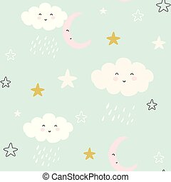 seamless pattern with cute clouds and raindrops. vector illustration,