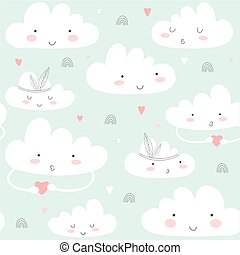 Seamless pattern with cute clouds.