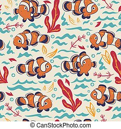 Seamless pattern with cute clown fish. Vector graphics.