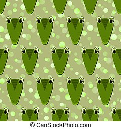 Seamless pattern with cute crocodile face on green polka dots background. Vector flat animals colorful illustration for kids. Adorable cartoon character. Design for card, poster, fabric, textile.