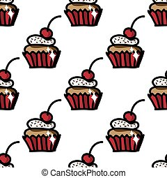 Seamless pattern with cute cupcake with cherry.