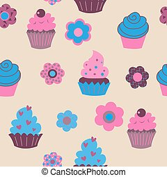 Seamless pattern with cute cupcakes and flowers
