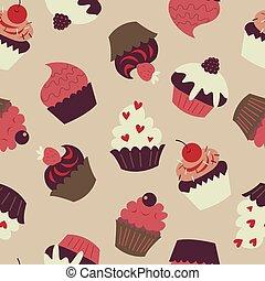 Seamless pattern with cute cupcakes on a beige background