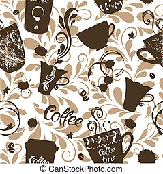 Seamless pattern with cute cups of coffee and spots