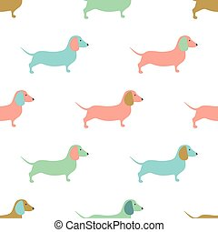 Seamless pattern with cute dachshound dogs. Vector illustration.