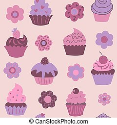 Seamless pattern with cute decorative cupcakes and flowers