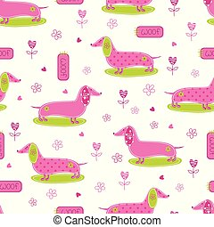Seamless pattern with cute dog and floral abstract elements
