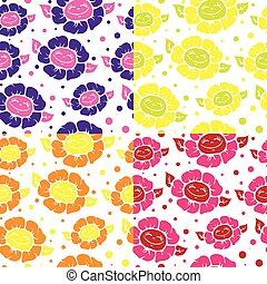 Seamless pattern with cute doodle flowers.