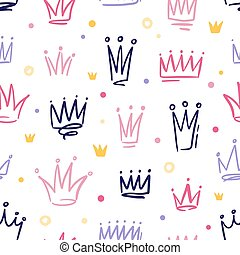 Seamless pattern with cute doodle queen or princess crowns in childish style. Hand drawn girly background with royal symbols. Vector cartoon illustration isolated on white