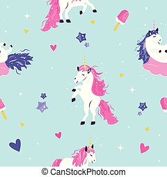 Seamless pattern with cute dreaming unicorns