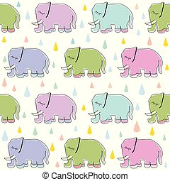seamless pattern with cute elephant