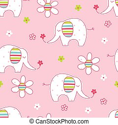 Seamless pattern with cute elephants and flowers