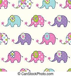 Seamless pattern with cute elephants