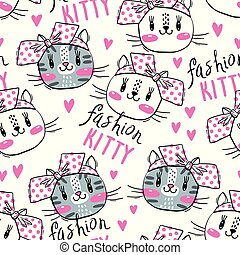Seamless pattern with cute fase of cats and bows. Fashion kawaii kitty. Vector illustration.