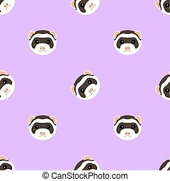 Seamless pattern with cute ferret muzzle. Vector flat design illustration.