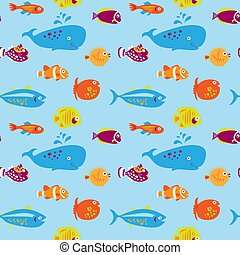 Seamless pattern with cute fishes on a blue background