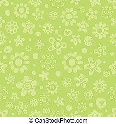 Seamless pattern with cute flowers in green monochrome colors on green background.
