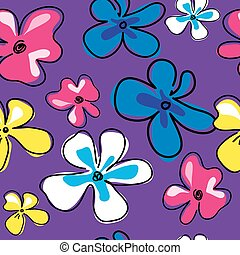Seamless pattern with cute flowers on a pink background