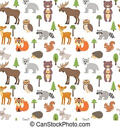 Seamless pattern with cute forest animals and trees on white background