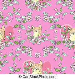 Seamless pattern with  cute fox.