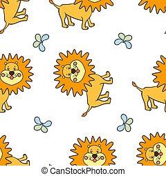 smiling yellow lion