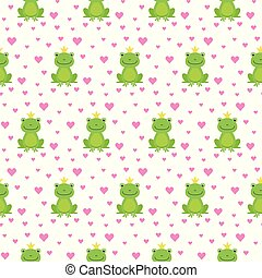 Seamless pattern with cute frogs and crowns vector illustration