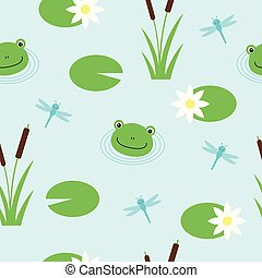 Seamless pattern with cute frogs and dragonflies. Vector background for kids.