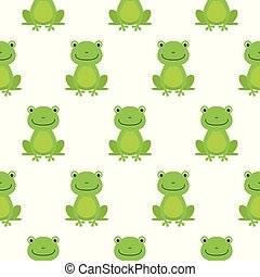 Seamless pattern with cute frogs. Vector background for kids
