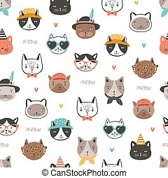 Seamless pattern with cute funny cat faces or heads wearing stylish accessories. Backdrop with cartoon animal muzzles on white background. Flat cartoon vector illustration for fabric print, wallpaper.