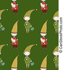 Seamless pattern with cute gnome and bird. Vector illustration for children design.