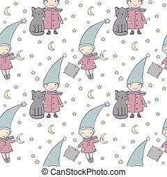 Seamless pattern with cute gnome and cat . Vector illustration