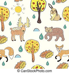 Seamless Pattern with cute Hand Drawn Animals. Scandinavian Style. Bright Colors. Vector Illustration