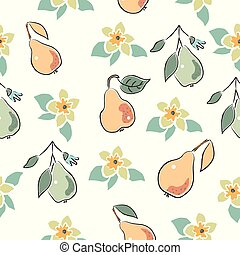 Seamless Pattern with Cute Hand Drawn Pears. Scandinavian Style