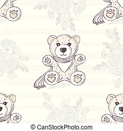 Seamless pattern with cute hand drawn teddy bear. Romantic floral background