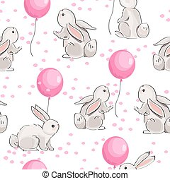 Seamless pattern with cute hares and balloons on white background.