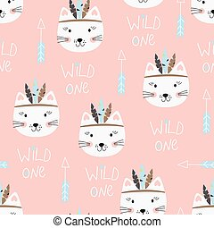 Seamless pattern with cute indian cats. Vector illustration ...