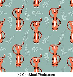 Seamless pattern with cute jungle orange tiger on blue...