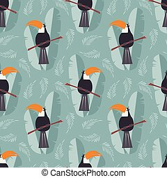 Seamless pattern with cute jungle parrot toucan on blue...