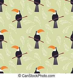 Seamless pattern with cute jungle parrot toucan on green...