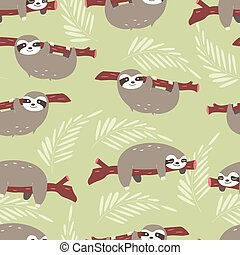 Seamless pattern with cute jungle sloths on green...