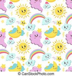 seamless pattern with cute kawaii ,cloud, rainbow and sun - vector illustration