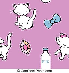 Seamless pattern with cute kitty stickers isolated on pink background. Vector illustration.