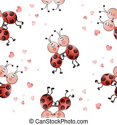 Seamless pattern with cute lady bug