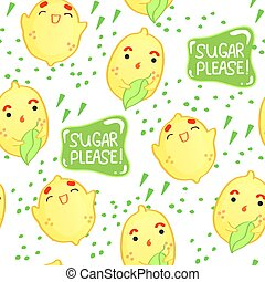 Seamless pattern with cute lemons and lettering on white background.