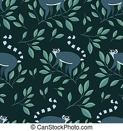 Seamless pattern with cute lemurs on the branch