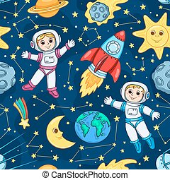 Seamless pattern with cute little astronaut