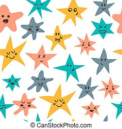 Seamless pattern with cute little stars