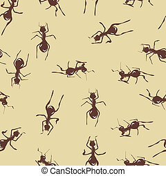 Seamless pattern with cute many brown ants on background