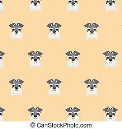 Seamless pattern with cute Miniature Schnauzer dog.
