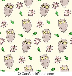 Seamless pattern with cute owls and flowers